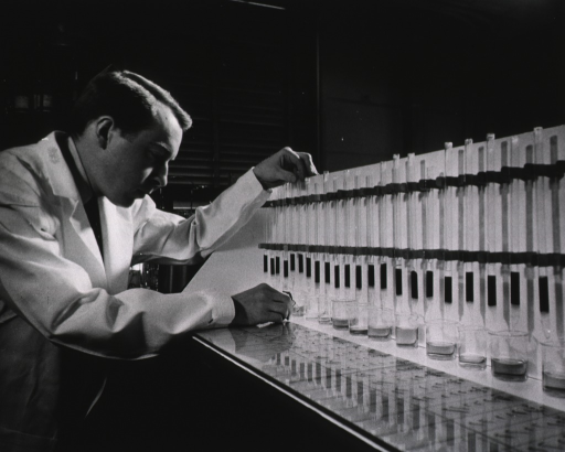 <p>A man wearing a white lab coat examines the flow of liquids in glass columns.</p>
