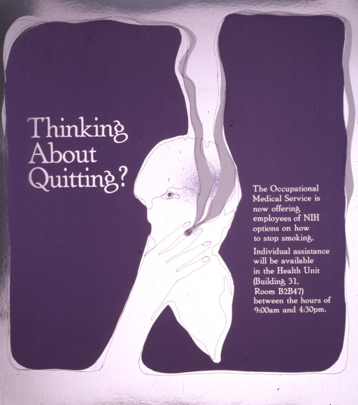 <p>The poster is silver with the purple outline of a head and hand between two large purple objects.  The hand is holding a cigarette which has white smoke spiraling up.</p>