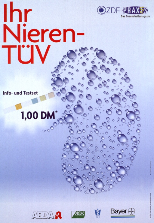 <p>White and pale blue poster with multicolor lettering.  Title in upper left corner.  Two sponsor logos in upper right corner.  Visual image is a kidney, constructed with bubbles of various sizes, next to what appears to be a test strip.  Text near test strip indicates that information and tests cost 1,00 DM.  Publisher and sponsors logos at bottom of poster.</p>