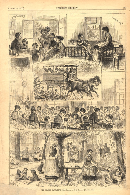 <p>Five illustrations of various aspects of a sanitarium for sick children on Long Island, New York:  daily examination; a dormitory; a ride to the beach in a carriage; the dining room; resting or playing on the lawn.</p>