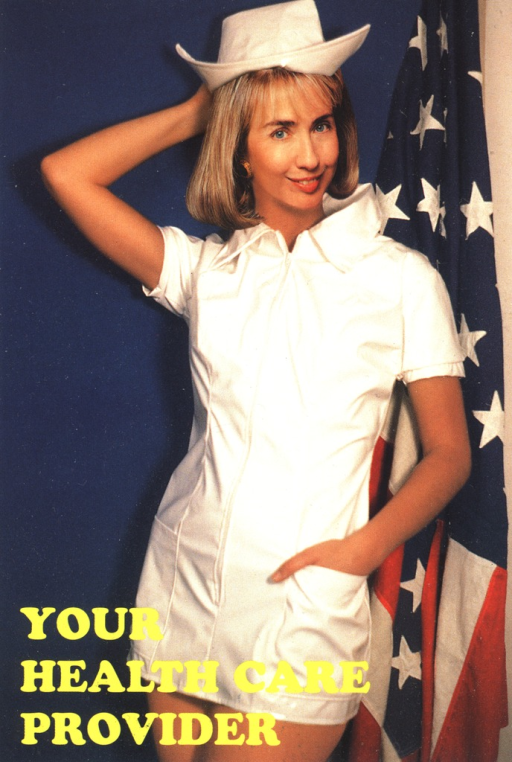 <p>Postcard featuring a color photograph of a nurse in a short uniform. She is standing in front of an American flag. The words &quot;Your health care provider&quot; are in yellow type.</p>