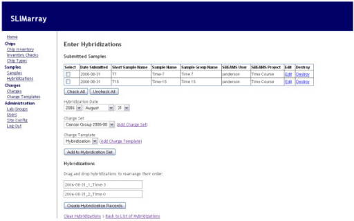Hybridization entry interface. Screenshot showing a web browser view of the interface used to enter information about hybridizations. Other interfaces in SLIMarray are similar in appearance.