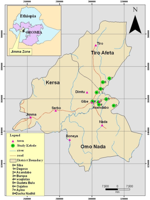 Location of the study Kebeles in the three selected districts of Jimma Zone, Ethiopia.