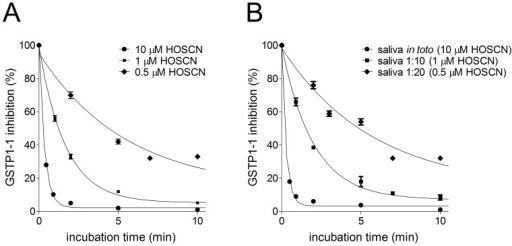 Inhibition pattern of GSTP1-1 by salivary samples or authentic HOSCN.(A) Purified GSTP1-1 (20 pmoles) incubated with authentic HOSCN (10, 1, and 0.5 µM). (B) Purified GSTP1-1 (20 pmoles) was at 25°C incubated with 70 µl of saliva (full circle) (estimated inhibitor concentration 10 µM) or at different dilutions (full square 1∶10; full diamond 1∶20). Each experiment was performed in triplicate (i.e. three different spectrophotometric determinations on the same sample). Error bars represent SEM.