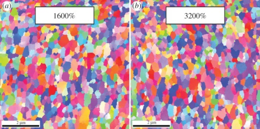 Example of an UFG Ni microstructure after strains of (a) 1600 and (b) 3200%. A cessation of grain refinement is recognizable. (Online version in colour.)