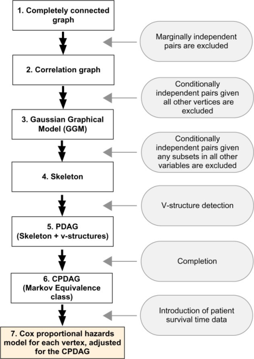 Workflow to obtain the whole genome causal structure: pairs of genes (edges) are sequentially excluded by conditional (marginal) independence tests, starting from a completely connected graph and arriving at a skeleton. V-structure detection and completion steps then follow. PDAG is partially directed acyclic graph and CPDAG is completed PDAG.