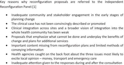 Key reasons why reconfiguration proposals are referred to the Independent Reconfiguration Panel.