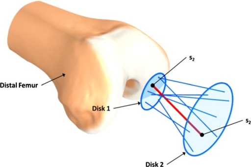 Docking directions are generated inside a truncated cone by picking a random point on Disk 1 and 2, these two points ( and ) are then connected and form the docking direction . The default radius for Disk 2 is 5 mm, and the cone angle is . The  represents the placement uncertainty, and does not dependent on the size of the patient. However, this parameter can be changed by the user prior to optimization
