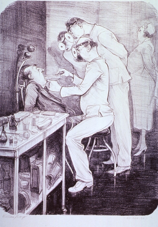 <p>In a clinic, a man is having his throat examined by three specialists.  A nurse stands to the right.</p>