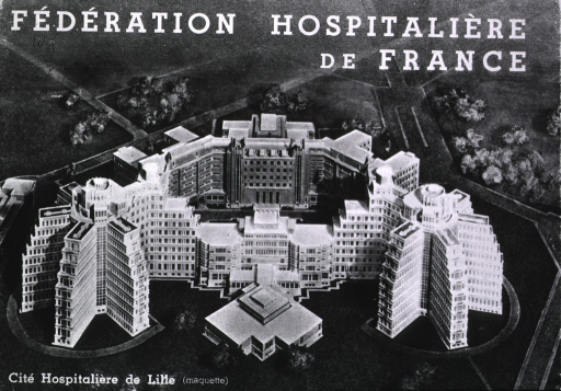 <p>Booklet of pictures of various hospitals in France, showing exterior and interior views.</p>