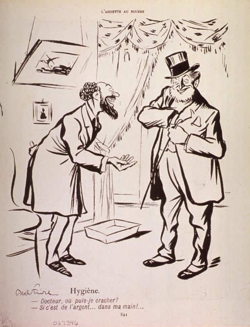 <p>Caricature of a greedy physician collecting his fee.  A pun may be intended with &quot;cracher,&quot; meaning to spit or to fork over.</p>