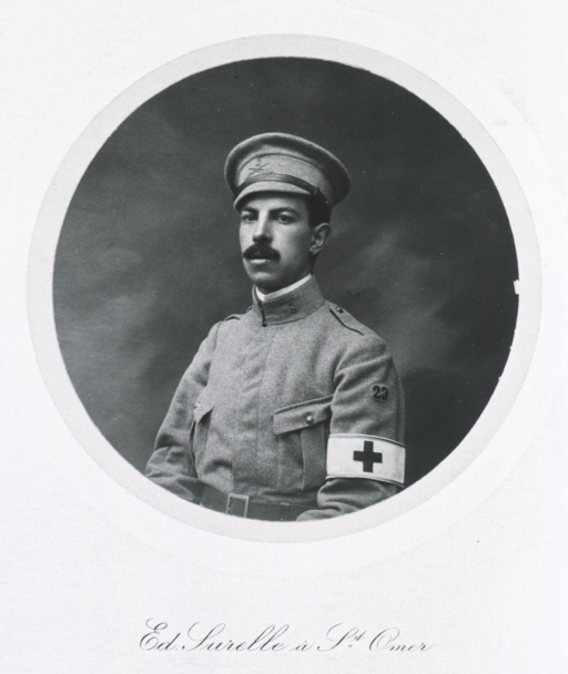 <p>Seated, left pose.  In uniform of Red Cross (band on arm).</p>