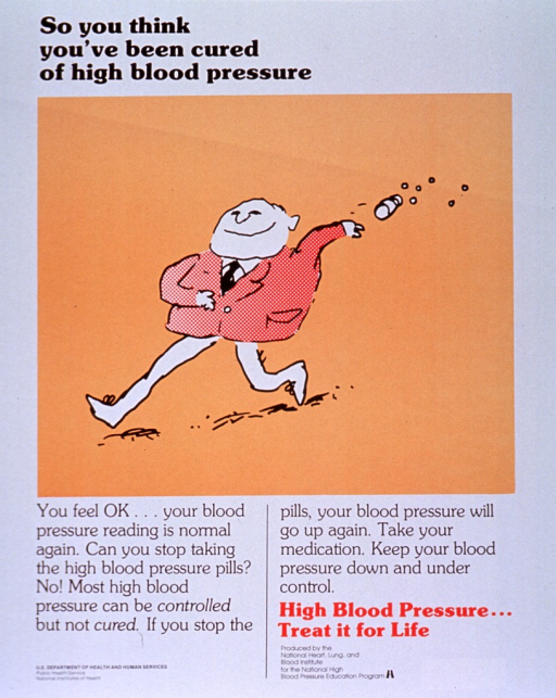 <p>White poster with black and orange lettering.  Title in upper left corner.  Visual image is an illustration of a man walking and tossing a pill bottle behind him.  Pills fly out of the open bottle.  Caption and note below illustration.  Publisher information at bottom of poster.</p>