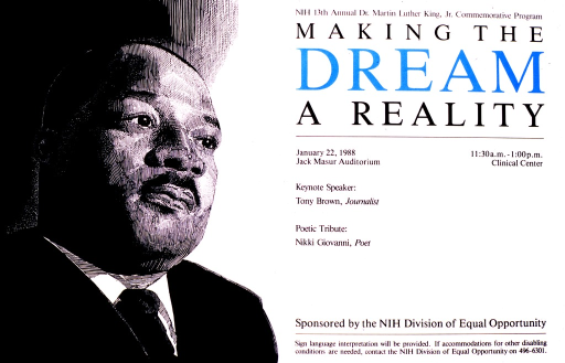<p>A pen-and-ink style portrait of King's head and shoulders is on the left half of the poster.  Keynote speaker is Tony Brown, and poetic tribute is by Nikki Giovanni.</p>
