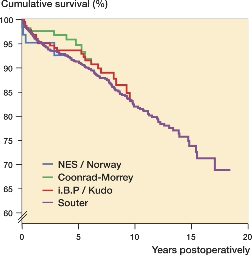 Cox-adjusted cumulative survival of different prosthesis designs used in TEA for rheumatoid arthritis in Finland from 1982 through 2006. The endpoint was defined as revision for any reason. Adjustment was made for age and sex.