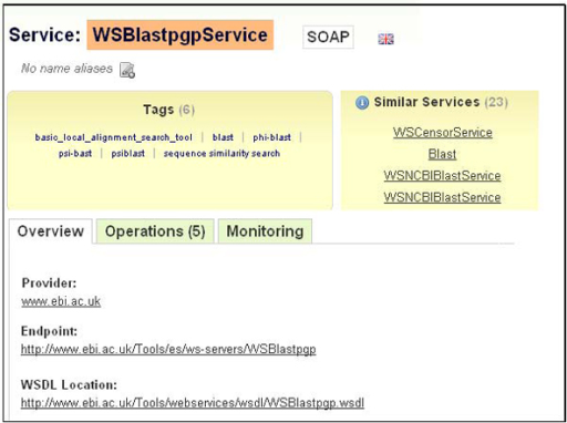 A snapshot of a Web service description taken from BioCatalogue