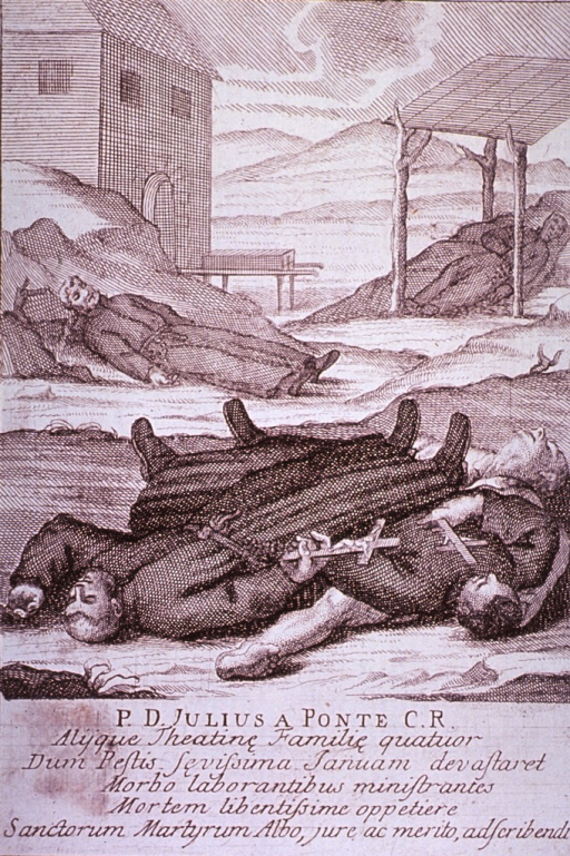 <p>Plague broadsides: Engravings attached to memorials for priests who died tending plague victims throughout Italy. Shows the bodies of dead priests, clutching crucifixes, among the bodies of plague victims.</p>