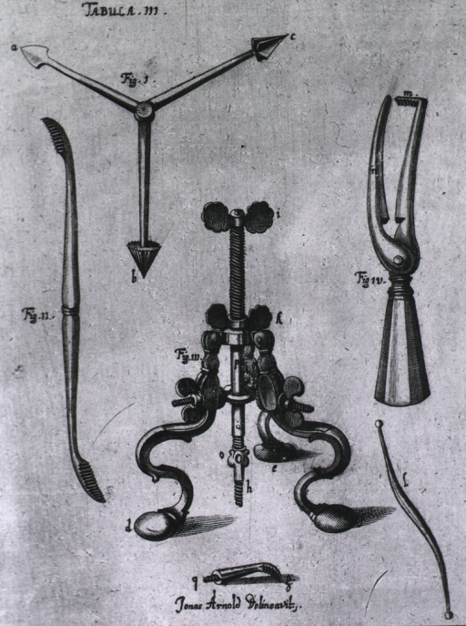 <p>Six trephining instruments.  Demonstrated in Pl. 28.</p>