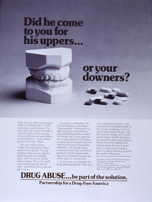 <p>White poster with black lettering.  Top of poster features a reproduction of a b&amp;w photo showing a dental model and a handful of pills and capsules.  Lengthy caption below photo stresses inaccurate stereotypes of drug abusers, reasons cocaine users may seek sedatives, the dangers of mixing drugs, and how to identify and help drug abusers.  Remaining text at bottom of poster.</p>