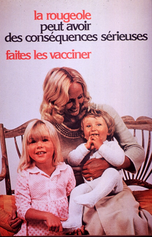 <p>Multicolor poster with red and black lettering.  Title at top of poster.  Caption below title.  Caption urges having children vaccinated.  Visual image is a color photo reproduction featuring a woman holding two young children.</p>
