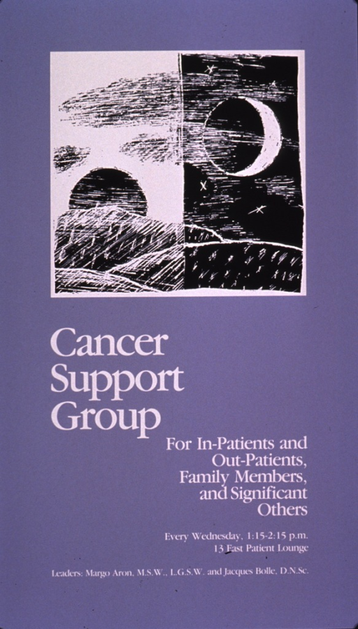 <p>Pale lilac poster with white lettering.  Visual image is a b&amp;w illustration.  The left half features a rising sun and the right half shows a crescent moon and some stars.  Title below illustration on left.  Note below title on right.  Additional text lists time, location, and leaders for the group meetings.</p>