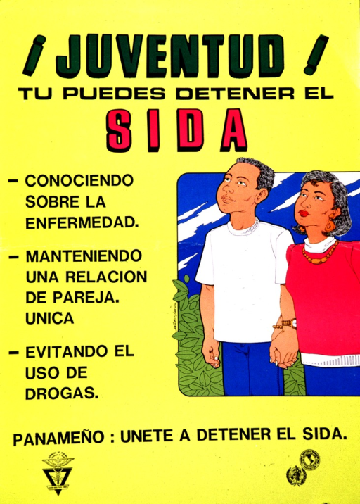 <p>English translation of the title: Youth! you can stop AIDS.  This is an appeal for young Panamanians to join together to stop AIDS.   A cartoon representation of a  man and woman holding hands in an outdoor setting.  On the left of the poster three directives are listed on how to stop AIDS: 1) know the disease, 2) maintain an exclusive relationship, and 3) avoid using drugs.</p>