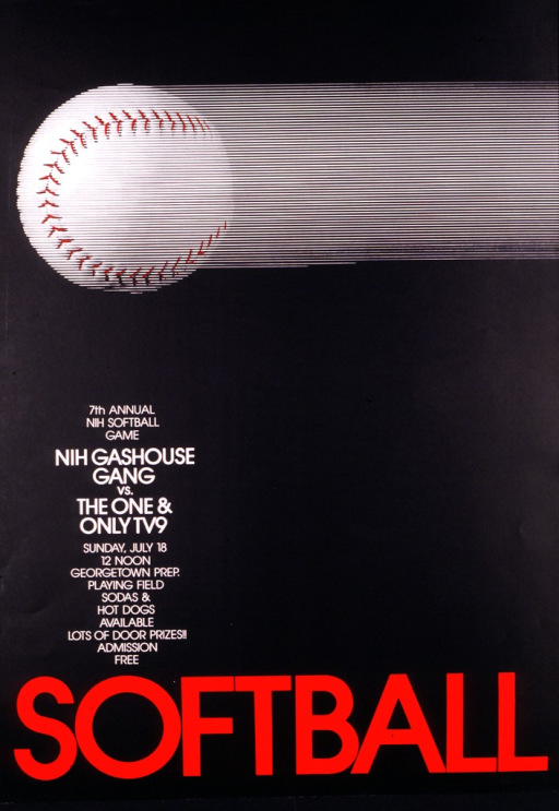 <p>Black poster with a baseball propelled across the top and SOFTBALL in big red letters along the bottom.</p>