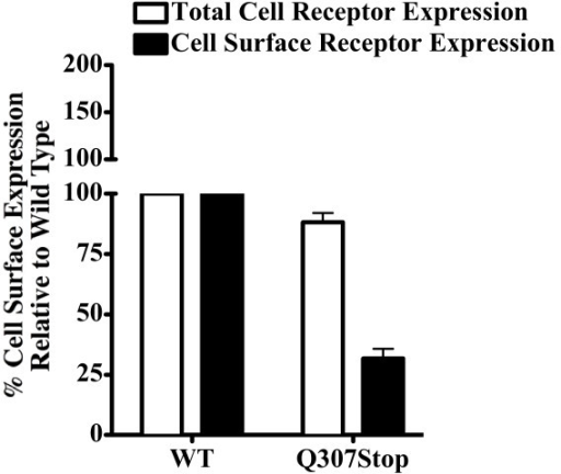 FACS Data. Fluorescence activated cell sorting analysis (FACS) of the MC4R Q307X mutation expressed in HEK-293. The total cell receptor expression levels were determined using permeabilized cells measuring both cell surface and intracellular protein expression. The cell surface expression levels were determined using non-permeabilized cells. Cell expression levels are presented relative to the wild type human-MC4R control. Total Q307X expression was 88%, surface expression was 31% and intracellular retention was about 57%.
