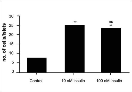 Effect of insulin treatment on the population of glucagon secreting cells. Statistical analysis was carried out using one way ANOVA followed by Tukey-Kramer multiple comparison test. **indicates p<0.001 compared to control, ns indicates p>0.05 compared to 10 nM insulin treatment.