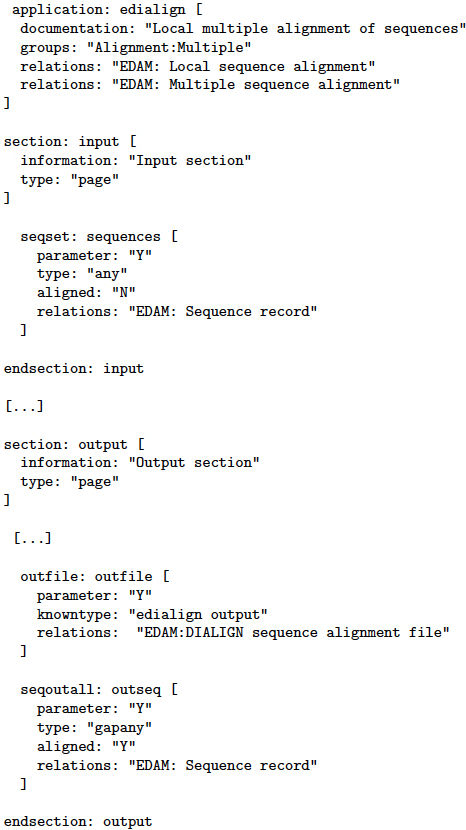 Example of an ACD file. ACD file for								 edialign							 (slightly shortened).