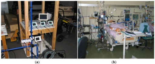 (a) Clinical evaluation setup under laboratory conditions and (b) during clinical trial in the hospital intensive care unit.