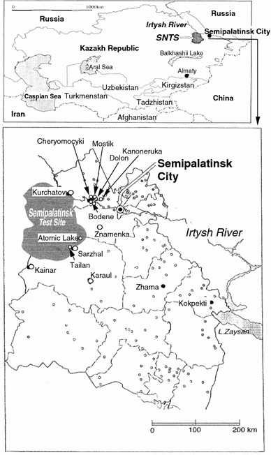 Map showing sampling locations of well waters around Semipalatinsk Nuclear Test Site, Kazakhstan