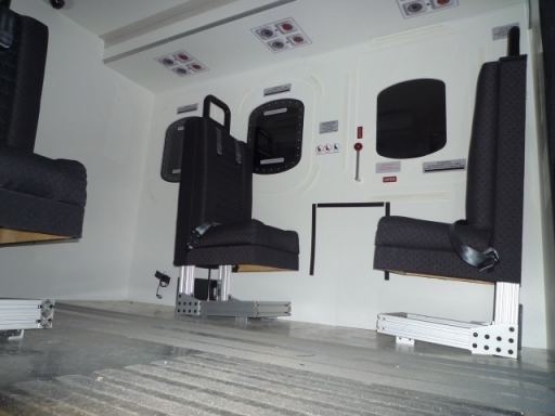 Interior view of marine institute replica of Sikorsky S-92 designed by Virtual Marine Technology