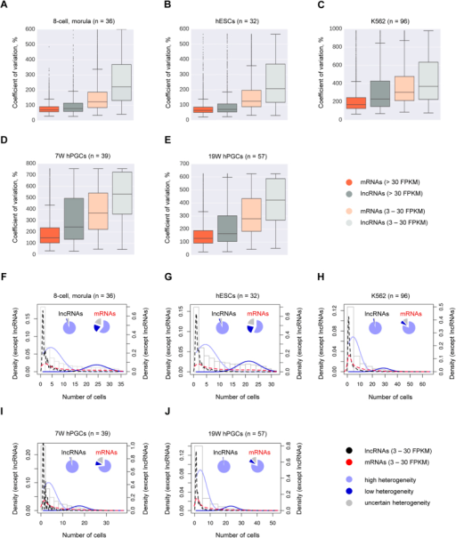 "LncRNAs show higher heterogeneity of expression than mRNAs.(A–E) LncRNAs have higher cell-to-cell variation in expression than mRNAs. Coefficient of variation (CV) across all cells of a given single-cell RNA-seq data set was calculated for each expressed gene (>3 FPKM), and shown are box plots of CV values for highly expressed (>30 FPKM) mRNAs (dark orange) and lncRNAs (dark grey), and for moderately expressed (3–30 FPKM) mRNAs (light orange) and lncRNAs (light grey). Box shows the first and third interquartile range (IQR), the line inside the box shows the median, and whiskers encompass the CV values within 1.5 IQR below and above the first and third quartiles, respectively. Points outside the whiskers are CV outliers. All possible pairwise comparisons result in statistically significant differences, Welch's t-test (p-value < 0.001). (F–J) Higher fraction of lncRNAs is classified as highly heterogeneously expressed, as compared to mRNAs. Plotted are density distributions of numbers of expressing cells calculated for lncRNAs (black dashed line), mRNAs (red dashed line), lncRNAs and mRNAs together (grey bars), and for modeled populations of genes with high (solid light blue line) or low (solid dark blue line) heterogeneity of expression. Pie charts demonstrate fractions of lncRNAs and mRNAs associated with the population of genes with high (light blue), low (dark blue) or uncertain (grey) heterogeneity of expression. Genes used for this analysis had expression >3 FPKM in at least one cell, and <30 FPKM in all cells of the corresponding data sets. Genes that contributed to the plots and pie charts on (F–J) were classified as belonging to either of the modeled populations of genes (with high or low expression heterogeneity) with a posterior probability >0.99, or were assigned the ""uncertain heterogeneity"" classification otherwise (posterior probability ≤0.99) (Tables S4,S5,S6,S7,S8). Single-cell RNA-seq data sets re-analyzed here were from: ref. 7 (8-cell and morula stage embryos, hESCs), ref. 53 (K562 cells), and ref. 54 (7W hPGCs and 19 W hPGCs). Number of individual cells used for each analysis is in parentheses in each panel heading."