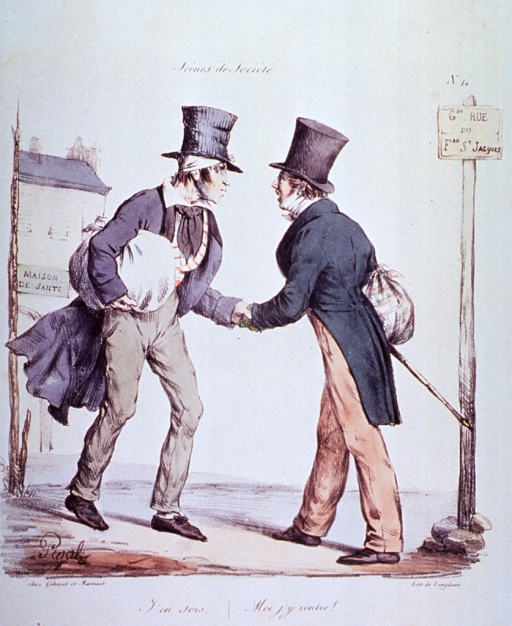 <p>Caricature:  Two men passing in the street; in the background is a building with a sign that reads Maison De Sante; one of the men is leaving with a bandaged head, the other is arriving with stomach problems.</p>
