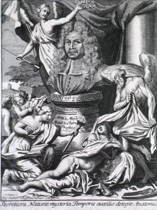 <p>Full face, surrounded by figures.</p>