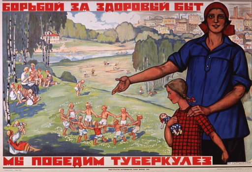 <p>Multicolor poster with red and black lettering.  Title at top of poster.  Visual image is an illustration of a woman and girl standing in a park setting.  People are playing and sitting in the park.  A city can be seen in the background.  Caption below illustration deals with conquering tuberculosis.  Publisher information at bottom of poster.</p>