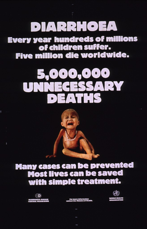 <p>Predominantly black poster with white lettering.  Title at top of poster.  Note near middle of poster, above a color photo reproduction featuring a crying, emaciated child.  Additional text on poster addresses suffering, the need for prevention, and the availability of treatment.  Publisher information in lower left corner.  Sponsor information in lower right corner.  Reference to an unidentified Ministry of Health between publisher and sponsor information.</p>