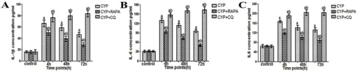 Evaluation of IL-1β, IL-6 and IL-8 changes in the bladder muscular layer in CYP-treated rats using ELISA kits.(A) IL-1β expression, (B) IL-6 expression and (C) IL-8 expression, n = 5. Data are expressed as the mean ± SD, a indicates a significant difference from normal at each time point (P <0.05). b indicates a significant difference compared to the CYP group value (P <0.05).