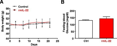 Chronic administration of rmIL-22 protein does not affect body weight and insulin resistance in HFD-fed mice. Mice were fed a HFD for 5 months and then injected with rmIL-22 (20 ng/g body weight, i.p. injection, twice a week) or saline for an additional four weeks. a Body weights were measured. b Fasting blood glucose levels. Values represent the mean ± SEM (n = 8)