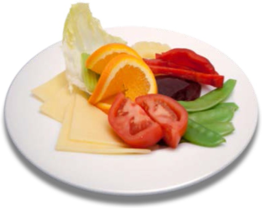 An example of a food image containing five food categories: cheese, tomato, oranges, beans, and carrots.