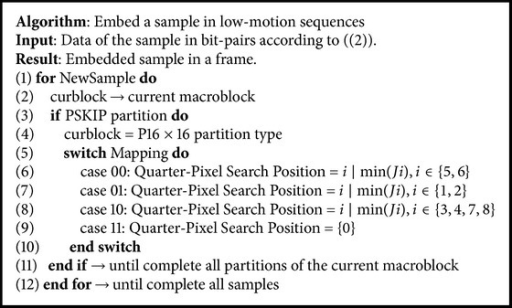 Algorithm of our data hiding encoding technique for low motion sequences.