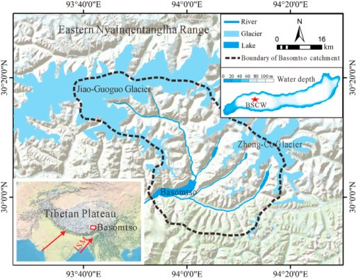 Map of the location of the Basomtso Lake basin (including the watershed, locations of glaciers and drainage network, the core site and a bathymetric map of the lake).The inset shows the main atmospheric circulation systems influencing the Basomtso Lake basin. The terrain map was generated using ArcMap 10 software (ESRI, USA, http://www.esri.com,) based on the basemap of USA Topo Maps (http://goto.arcgisonline.com/maps/USA_Topo_Maps). The bathymetry was measured in 2012 AD and bathymetry contours were plotted using Surfer 9.0 software (http://www.goldensoftware.com).