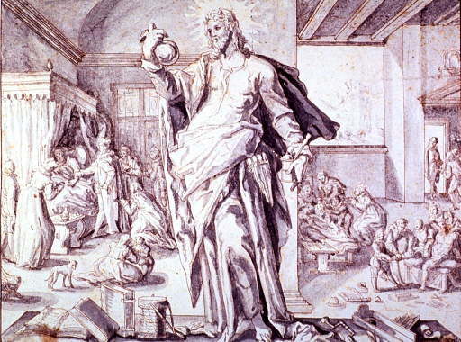 <p>Allegorical figure of the physician as God standing among books and tools of the medical professions. Interior view with three scenes: a patient undergoing head surgery; setting of a broken leg; and a bedside scene showing a physician taking pulse.</p>