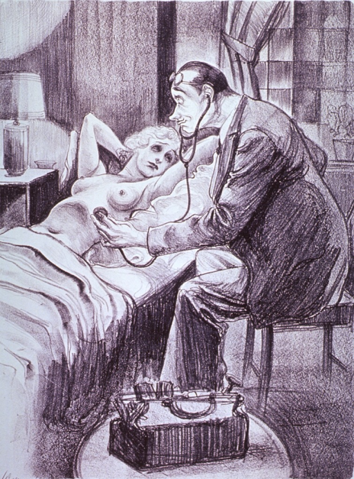 <p>An attractive young woman, lying in bed and uncovered to the waist, is having a stethoscope reading by a physician.</p>