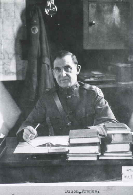<p>Half-length, full face; wearing uniform; seated at desk, Central Medical Dept. Laboratory, Dijon, France.</p>