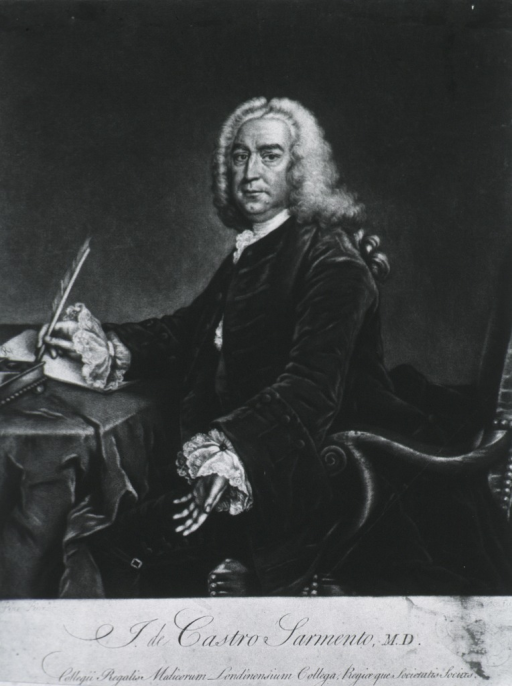 <p>Seated, three quarter length, left pose - writing with quill pen - other hand outstretched.  Velvet coat and lace cuffs.</p>