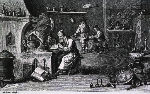 <p>An old man is sitting on a stool before a furnace, he is working a bellows, a young man (apprentice?) is standing to his right observing; in the background two men are working at a table.</p>