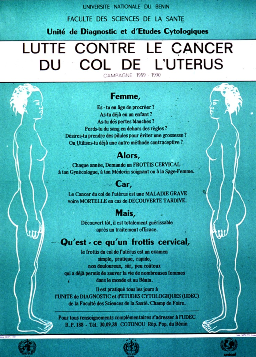 <p>Predominantly green poster with black lettering.  Publisher information at top of poster.  Title below publisher information.  Visual images are line drawings of naked women standing in profile, one on each side of the poster.  Lengthy text between them asks women several questions about their reproductive health and urges seeking an annual Pap smear from their health care provider.  It also describes a Pap smear and notes that the publishing agency provides the test every day.  Sponsor information at bottom of poster.</p>