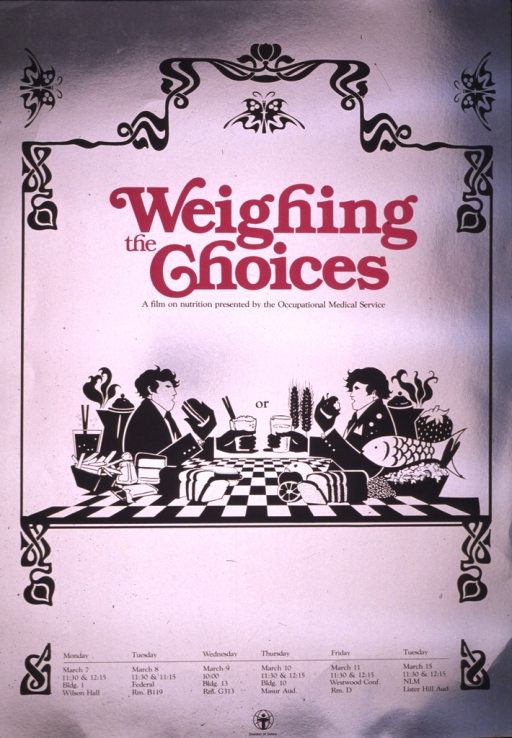 <p>The poster is silver with a black drawing of two men seated at a table, one getting ready to eat a hamburger, fries, etc., and the other with an apple, fish, etc.  The word &quot;or&quot; is between them and the scene is bordered in black to make it look like an ornate frame.  The title is in deep pink, and the dates, times, and locations of the showing of the film are also listed.  The logo for the Division of Safety is at the bottom of the poster.</p>